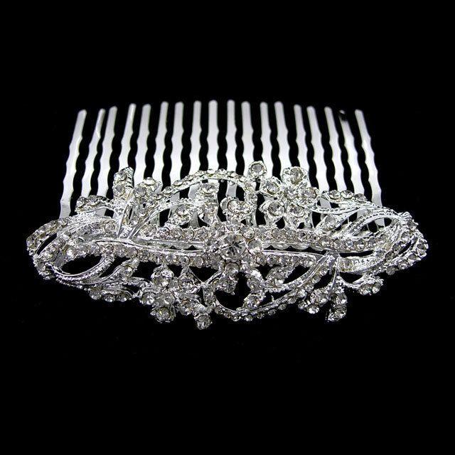 7cm Wide Flower Wedding Bridal Flower Girl Crystal Hair Comb