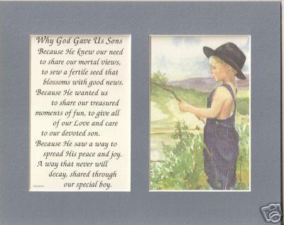 SONs God gave verses poems plaques prints Boys FISHING