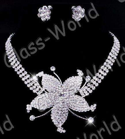 Wedding Queen→Flower Rhinestone Crystal Necklace Earrings Clear Set