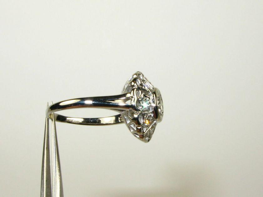 Antique Deco .50ctw Genuine Round Cut Diamond 14k White Gold Floral