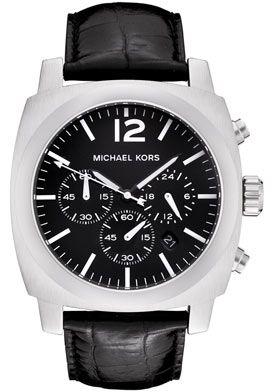 MICHAEL KORS BLACK LEATHER CHRONOGRAPH MEM WATCH MK8118 NEW