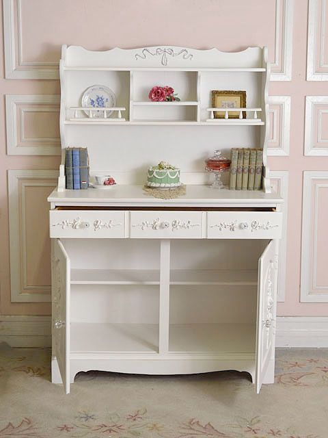 Shabby Cottage Chic White Rose China Cabinet with Hutch