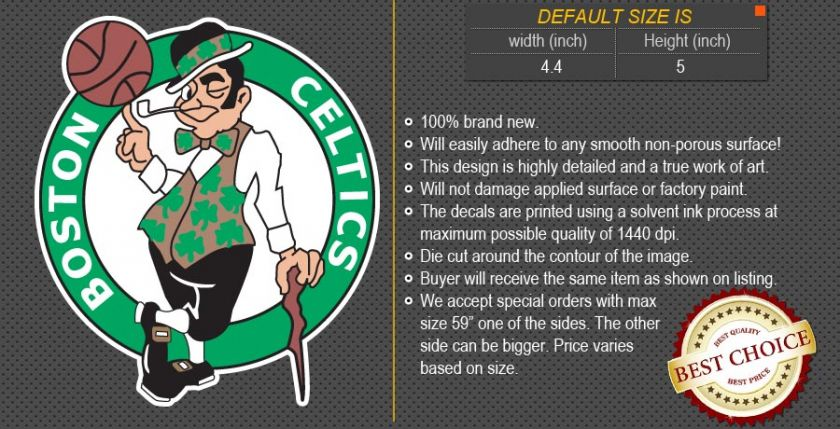 Boston Celtics NBA Basketball Logos Car Bumper Window Wall Sticker